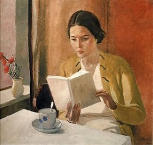 Girl with a Book by Alexander Deineka 1934